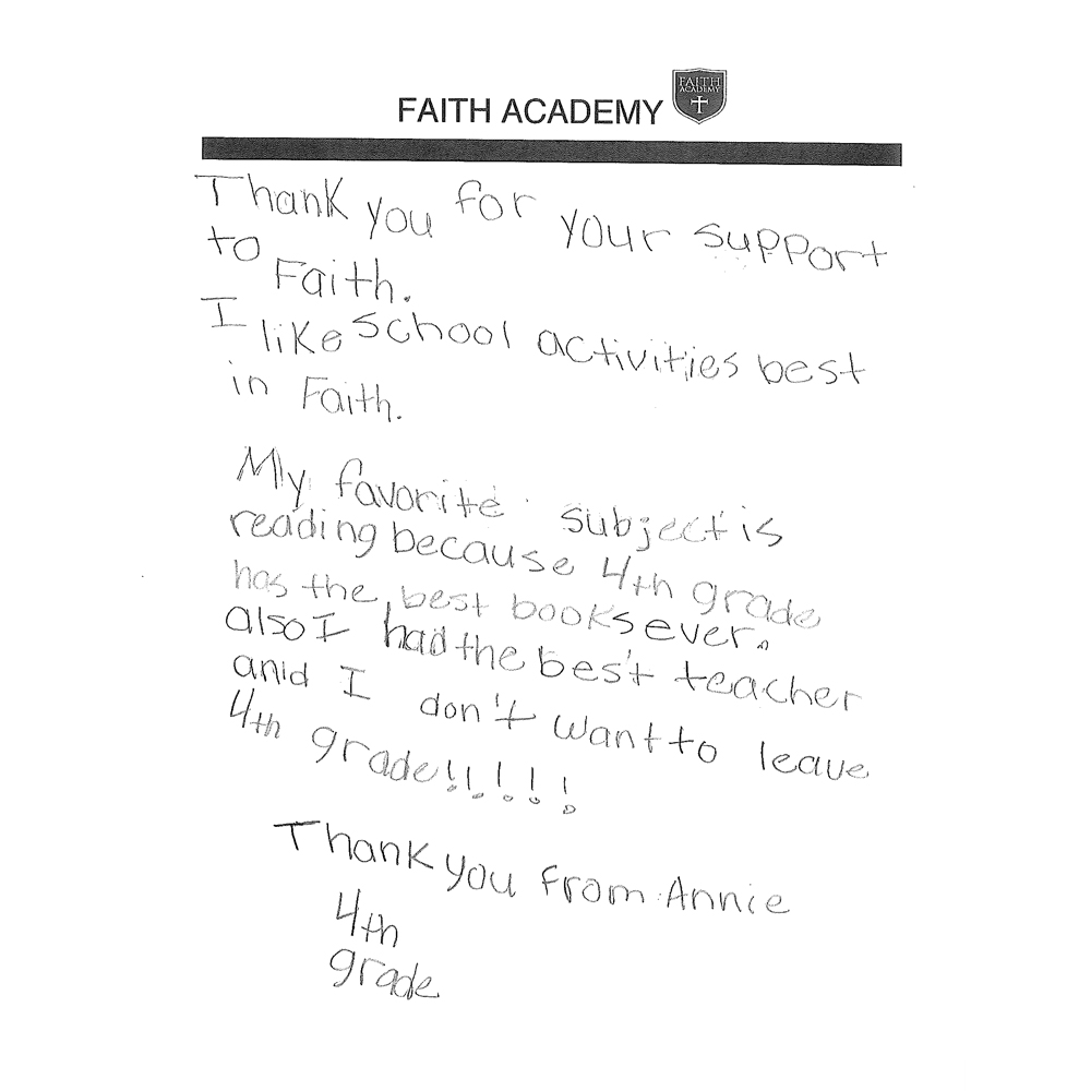 Thank you note from Annie